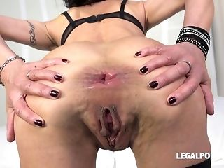 Horny breezy Lyna Cypher predominated with duplicated plumb and didlo porn video