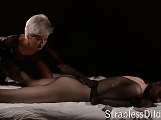 Pantyhose encasement give strapon