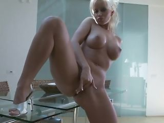 Huge-boobed blond mummy plays with her dearest fuck-a-thon plaything porn video