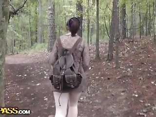 Plumbed and jizm shot his girlfriend in the forest free sex