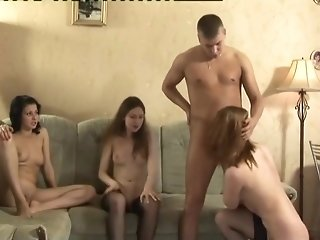 Russian kinky fuckfest up trio youthful cocksluts in opulent black tights freeporn