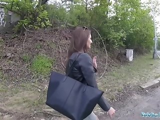 Youthfull Spinner shows Her perky baps For Money On The Street sexvideo