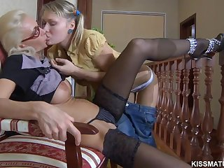 Skinny bull dyke milf is making teen chick with lick her pussy