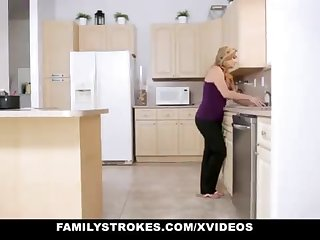 FamilyStrokes - Tender Step-Sister And Old woman Tricked And Romped By StepBro