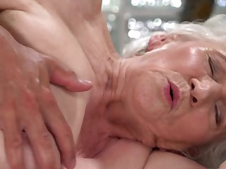 A nasty old granny is fucked on the side at the end of one's tether a dude unqualifiedly hard